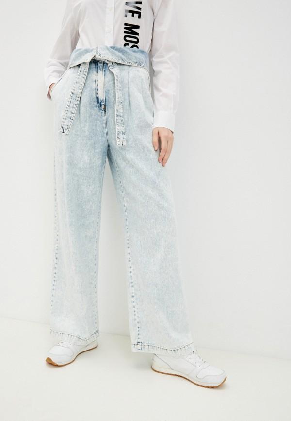 женские джинсы клеш love moschino, голубые