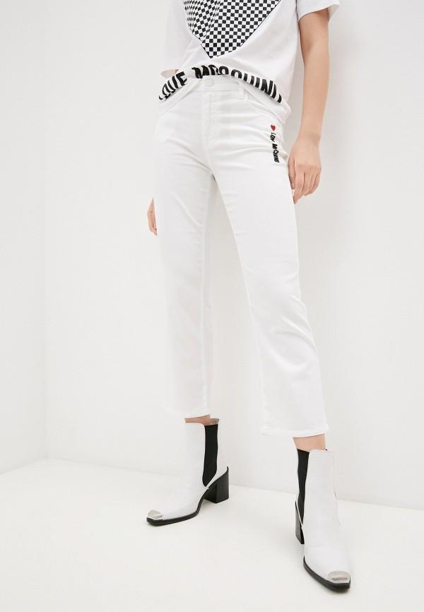 женские джинсы клеш love moschino, белые