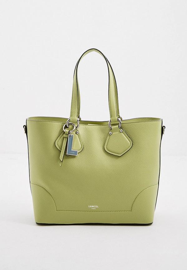 женская сумка с ручками lancel, зеленая
