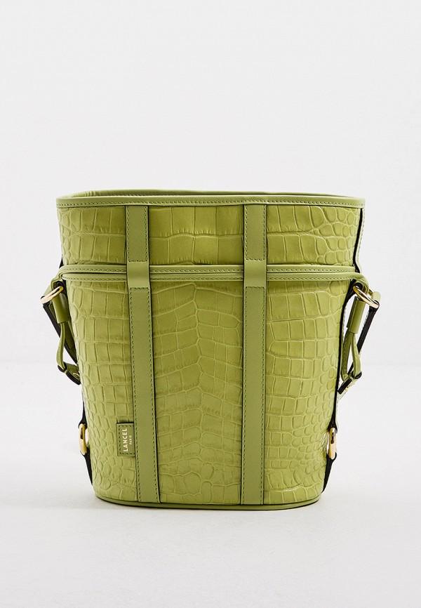 женская сумка-ведро lancel, зеленая