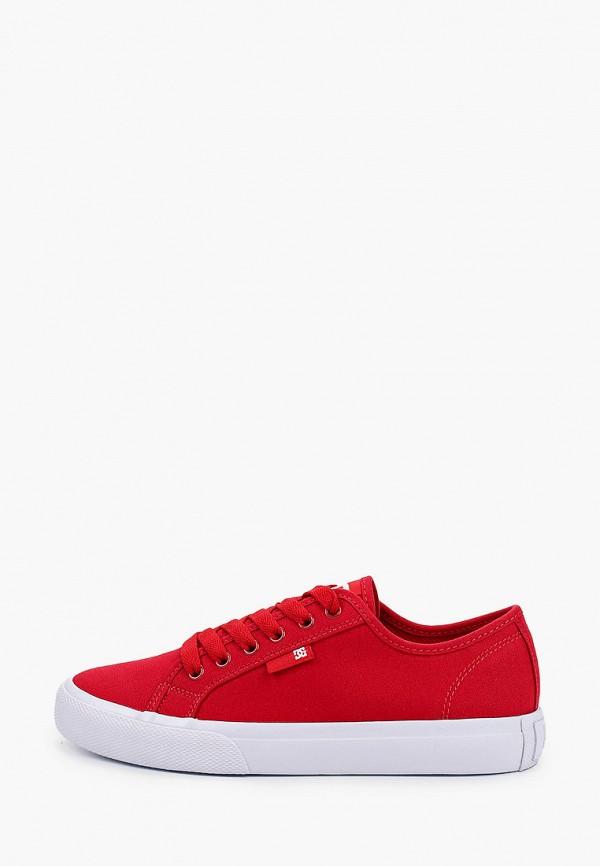 женские низкие кеды dc shoes, красные