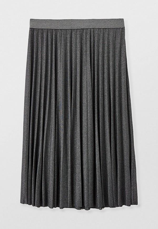 женская плиссированные юбка elena miro, серебряная