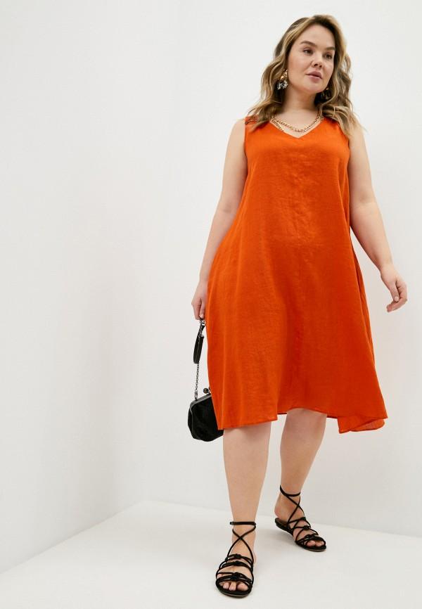 женское повседневные платье elena miro, оранжевое