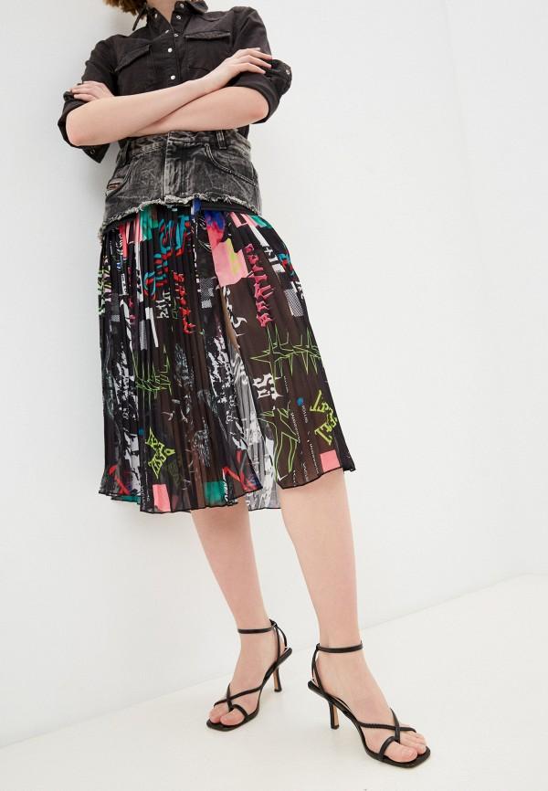 женская плиссированные юбка diesel, черная