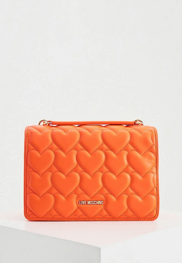 женская сумка через плечо love moschino, оранжевая