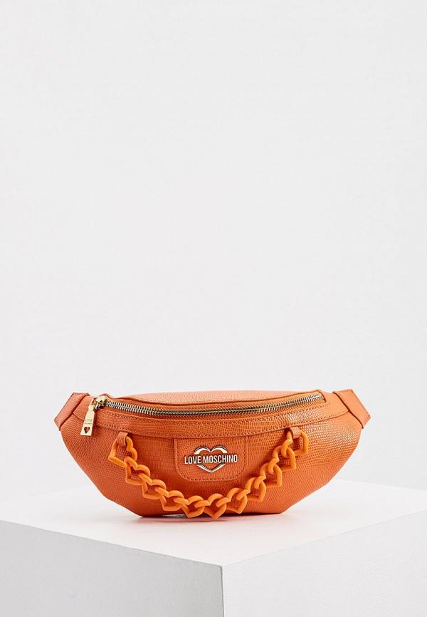 женская поясные сумка love moschino, оранжевая