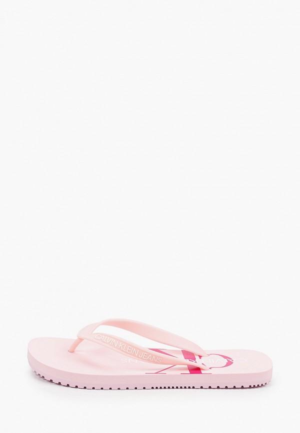 женские сланцы calvin klein, розовые