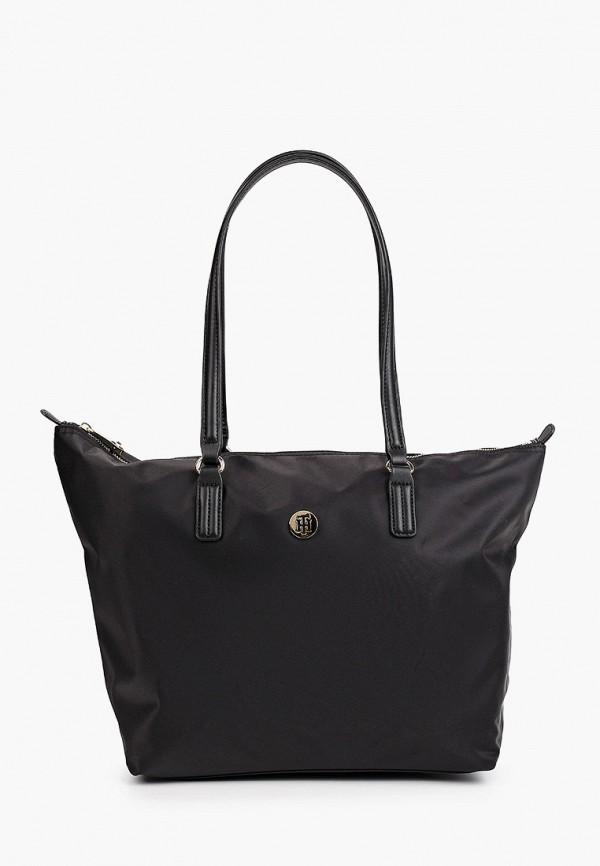 женская сумка-шоперы tommy hilfiger, черная