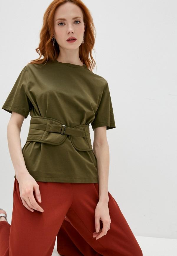 женская футболка neil barrett, хаки