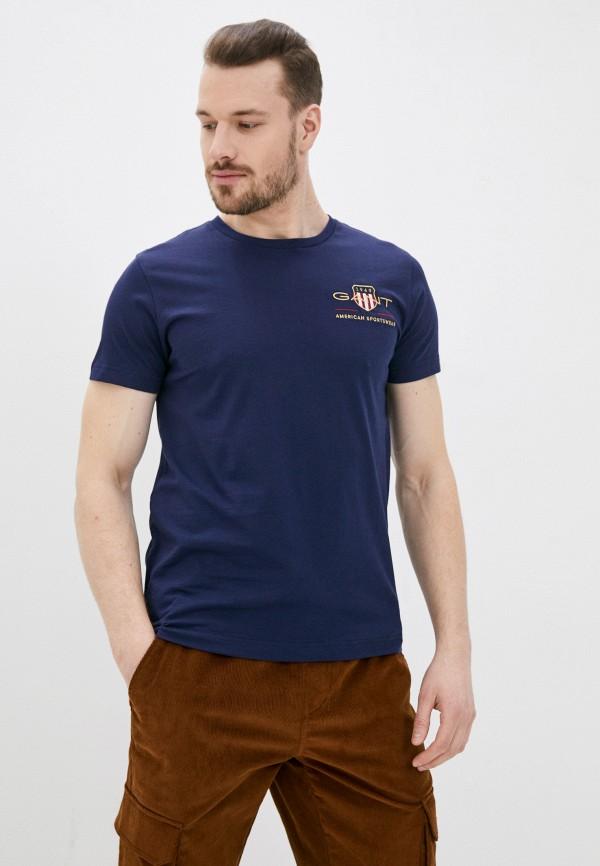 мужская футболка gant, синяя