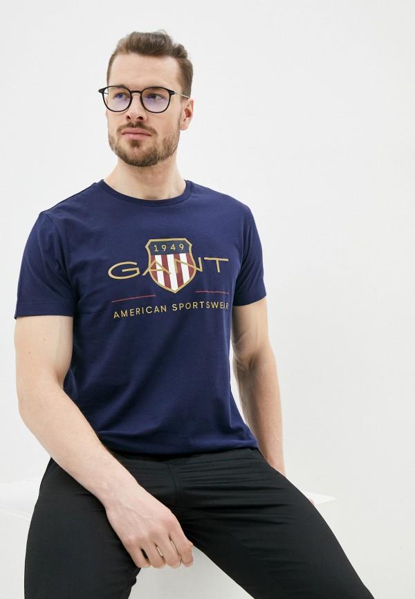 мужская футболка с коротким рукавом gant, синяя