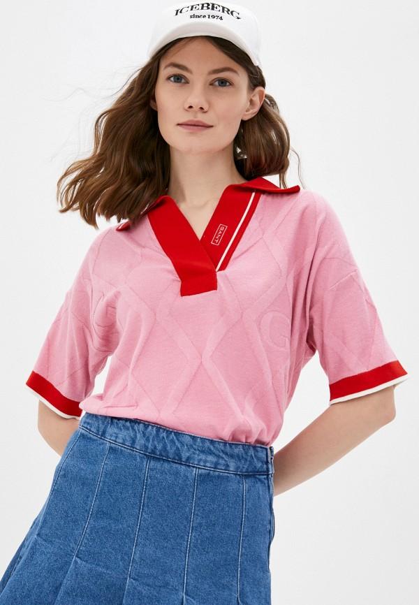 женское поло gant, розовое