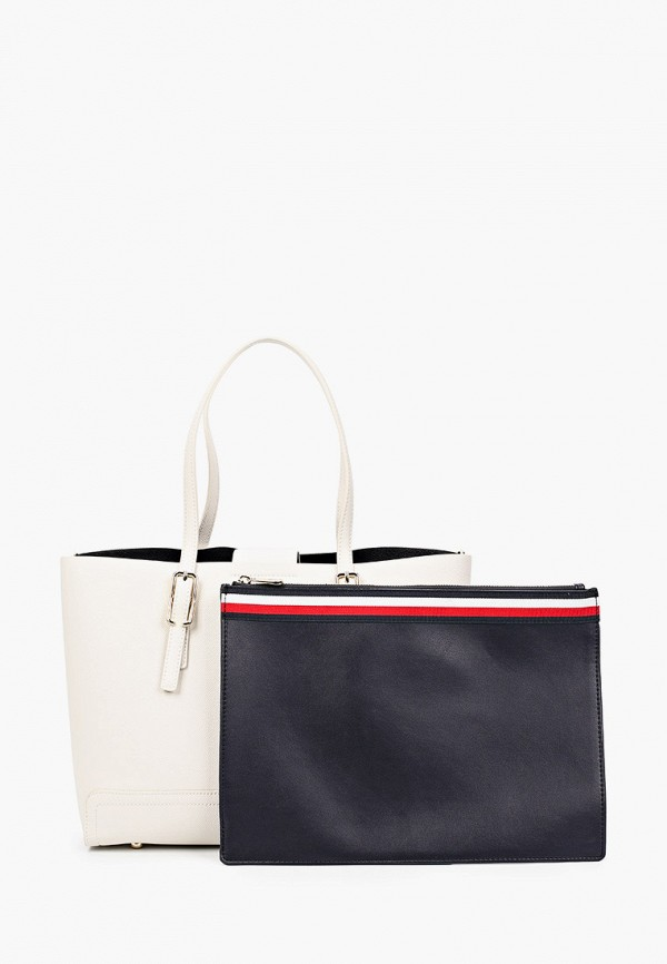 женская сумка с ручками tommy hilfiger, белая