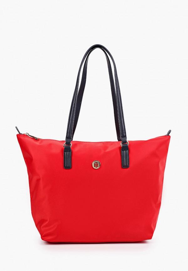 женская сумка-шоперы tommy hilfiger, красная