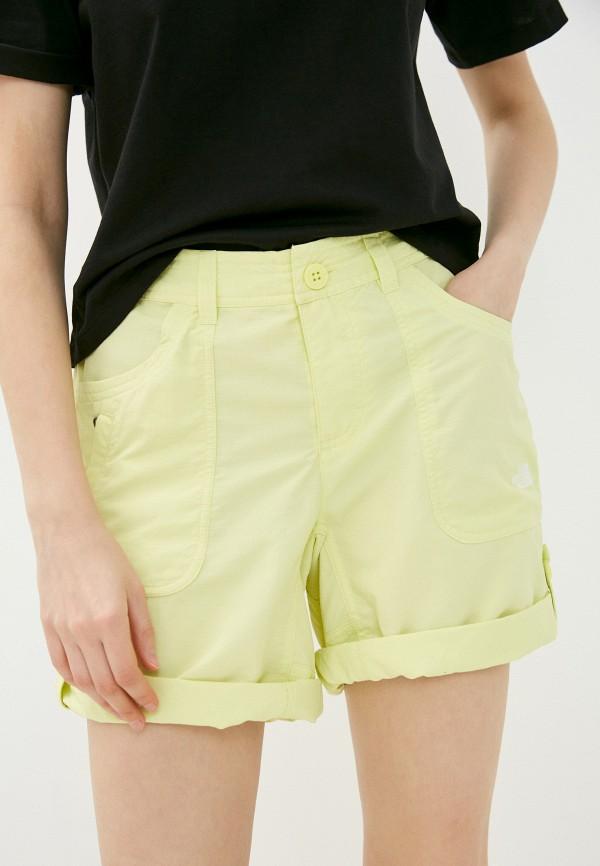 женские спортивные шорты the north face, желтые
