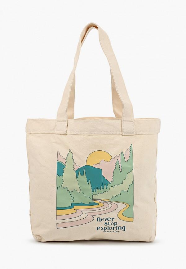 женская сумка-шоперы the north face, бежевая