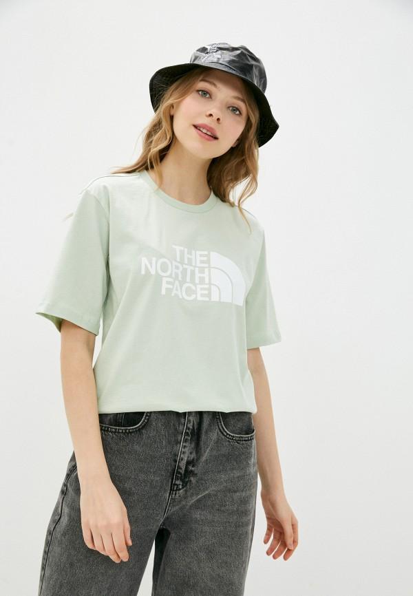 женская спортивные футболка the north face, зеленая