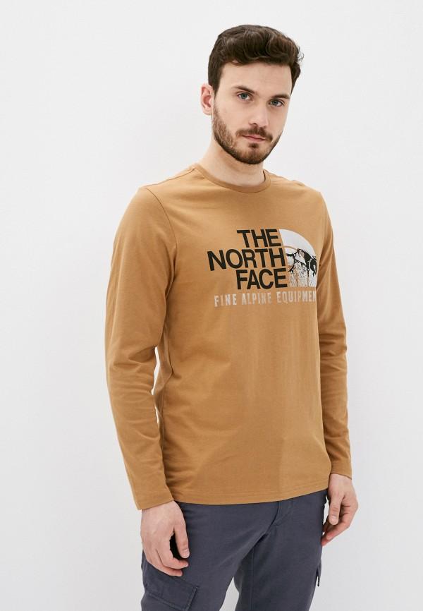 мужской лонгслив the north face, коричневый