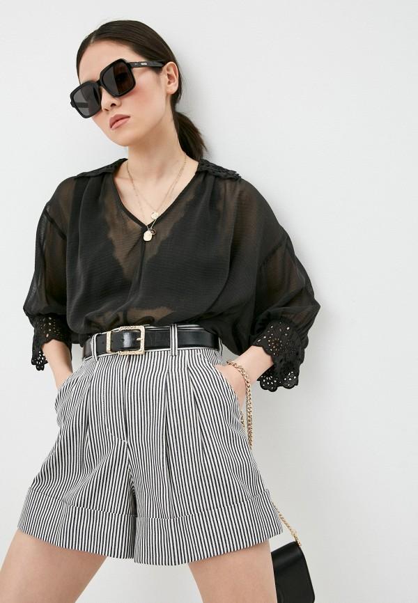 женская блузка с длинным рукавом seventy, черная