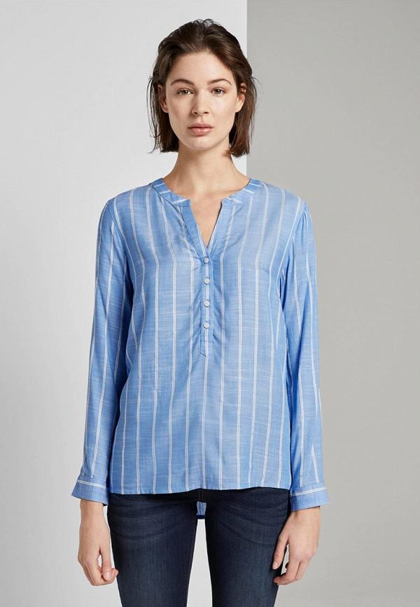 женская блузка с длинным рукавом tom tailor, голубая
