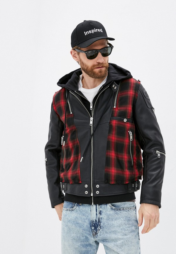 мужская кожаные куртка diesel, черная