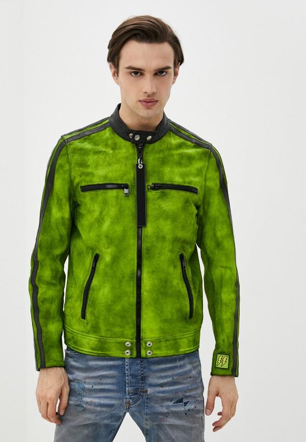 мужская кожаные куртка diesel, зеленая