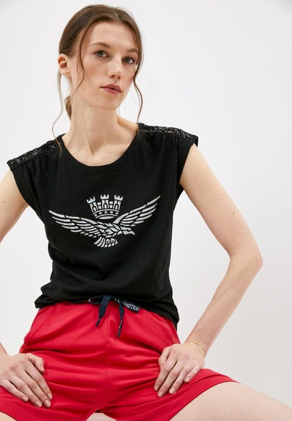 женская футболка aeronautica militare, черная