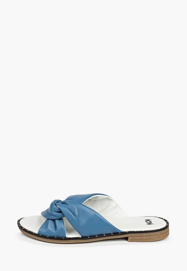 женское сабо mcm, голубое