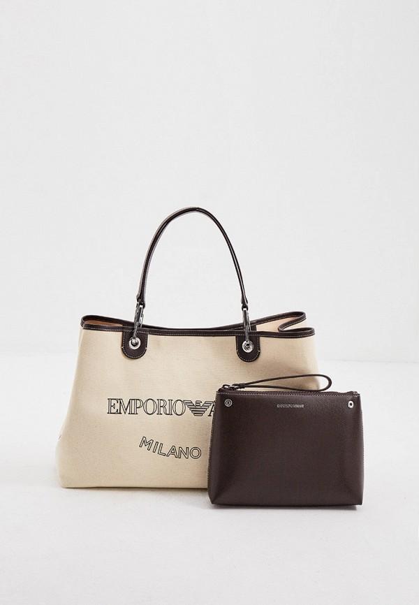 женская сумка-шоперы emporio armani, бежевая
