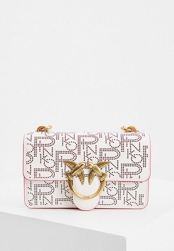 женская сумка с ручками pinko, белая