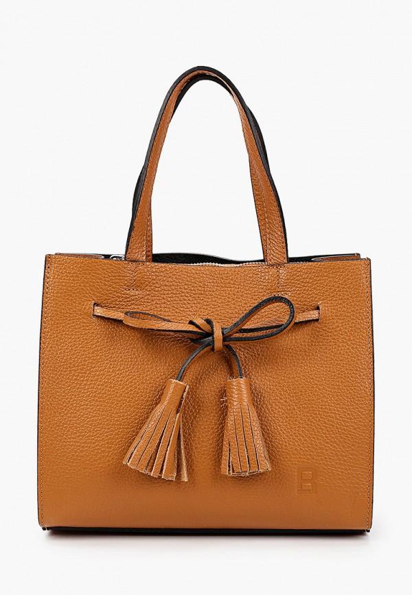 женская сумка с ручками roberto buono, коричневая