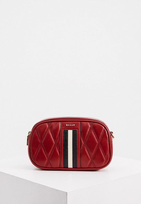 женская сумка через плечо bally, красная
