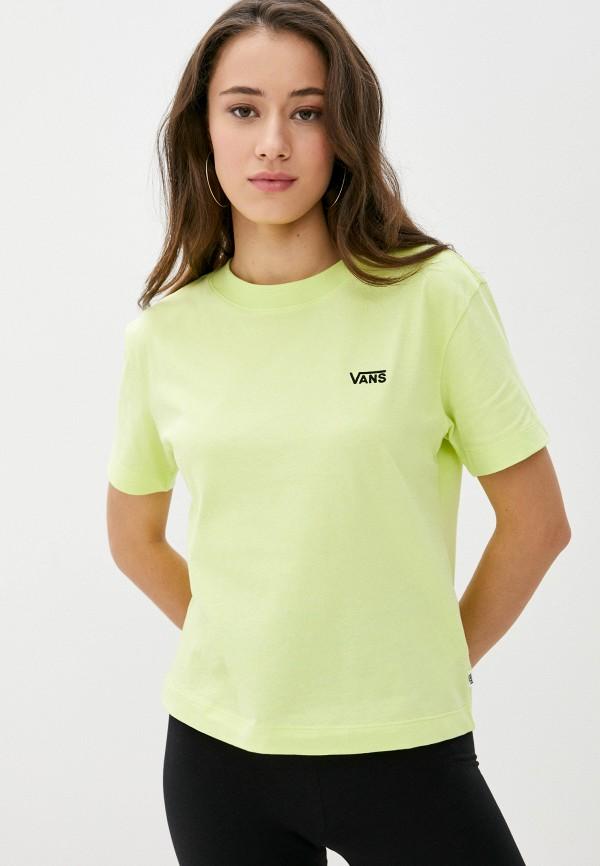 женская спортивные футболка vans, зеленая