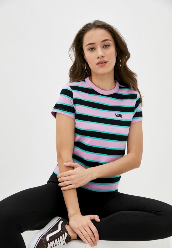 женская спортивные футболка vans, розовая