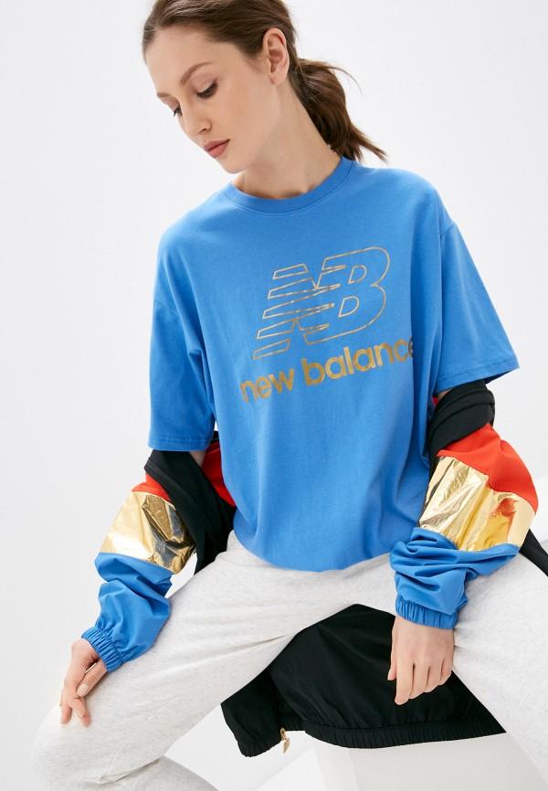 женская спортивные футболка new balance, голубая