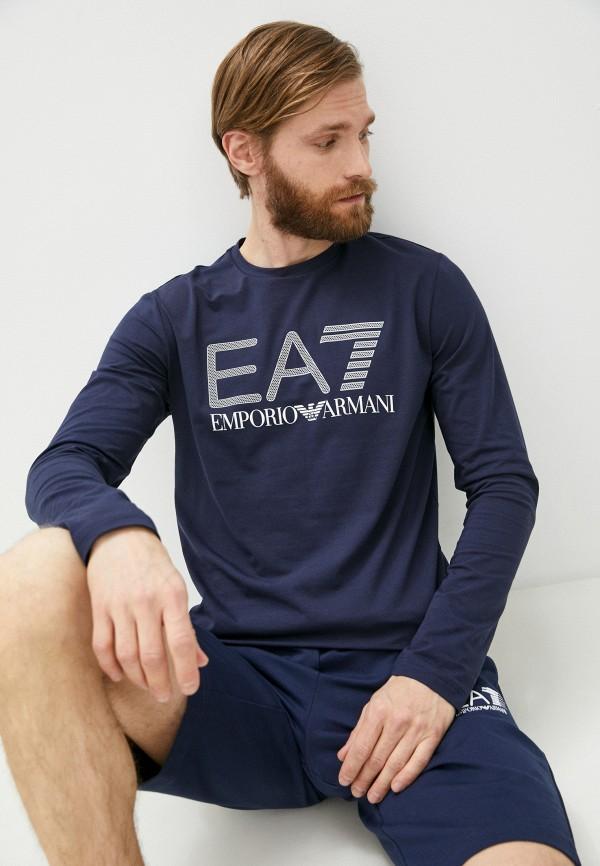 мужской лонгслив ea7, синий