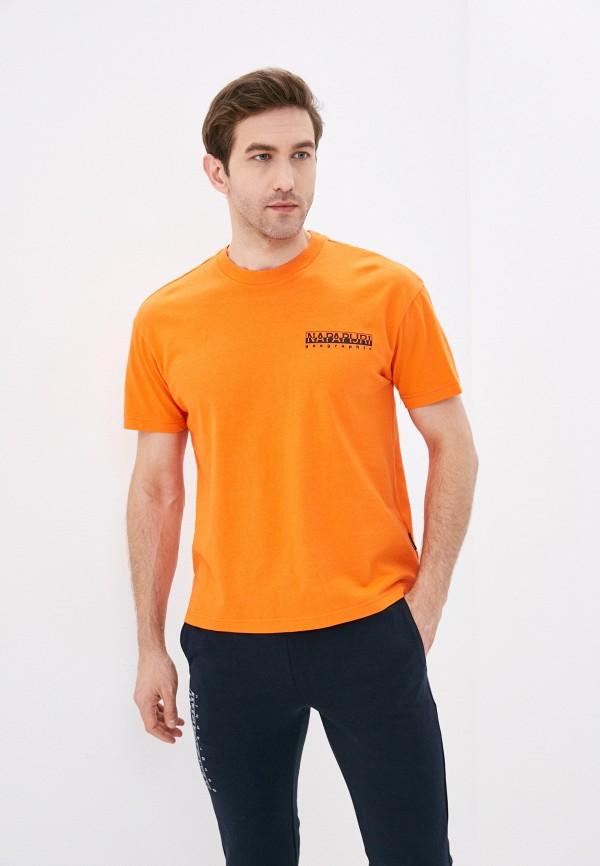женская футболка с коротким рукавом napapijri, оранжевая