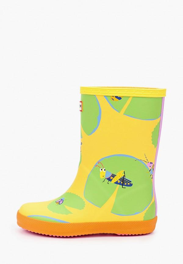 резиновые сапоги hunter для девочки, желтые