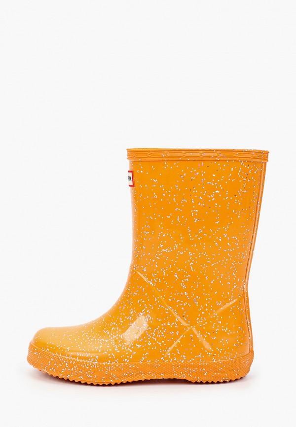 резиновые сапоги hunter для девочки, оранжевые