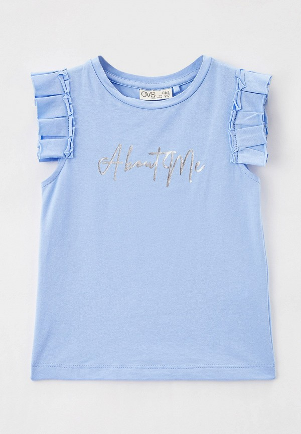 футболка с коротким рукавом ovs для девочки, голубая