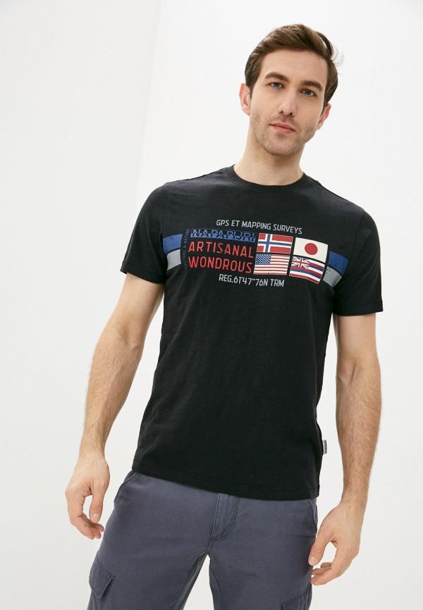 мужская футболка с коротким рукавом napapijri, синяя