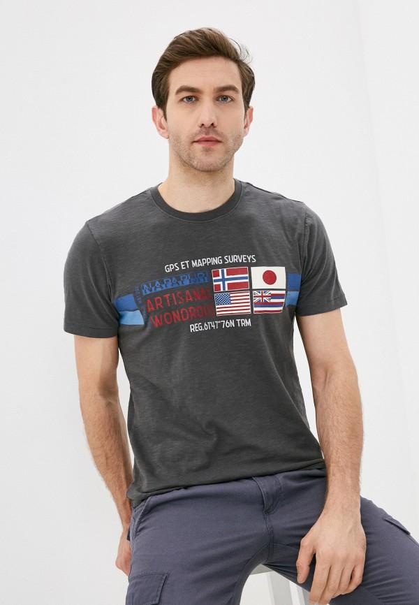 мужская футболка с коротким рукавом napapijri, серая