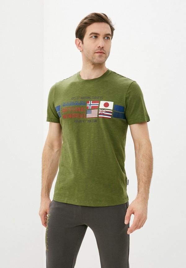 мужская футболка с коротким рукавом napapijri, зеленая