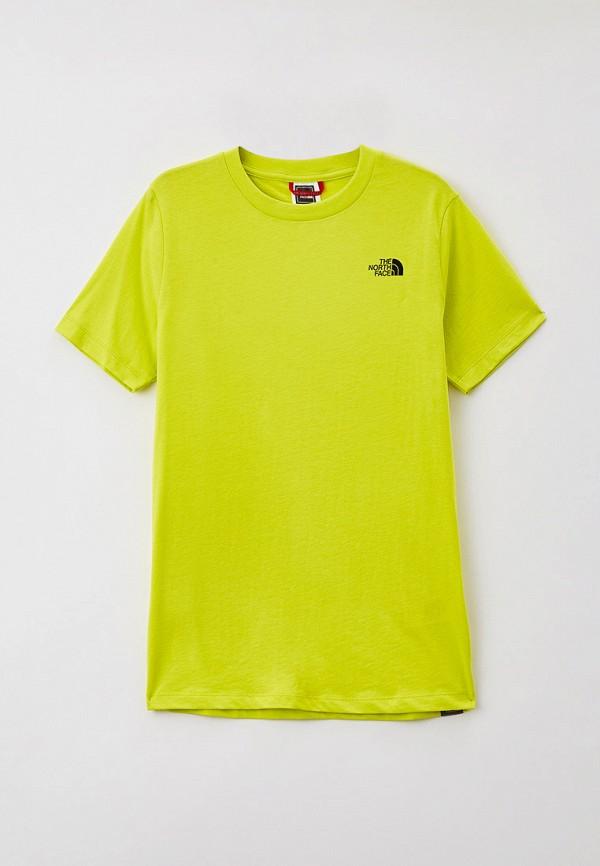 футболка the north face для мальчика, зеленая