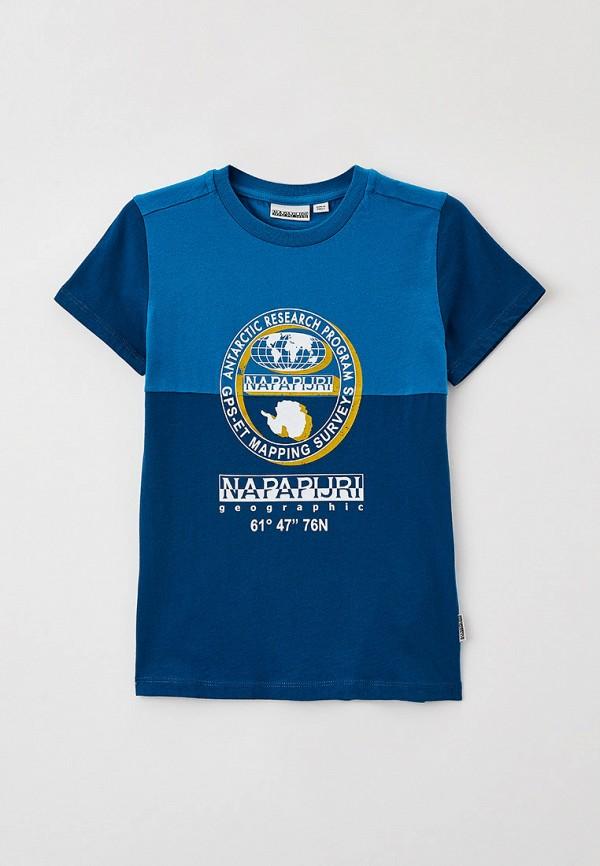 футболка с коротким рукавом napapijri для мальчика, синяя