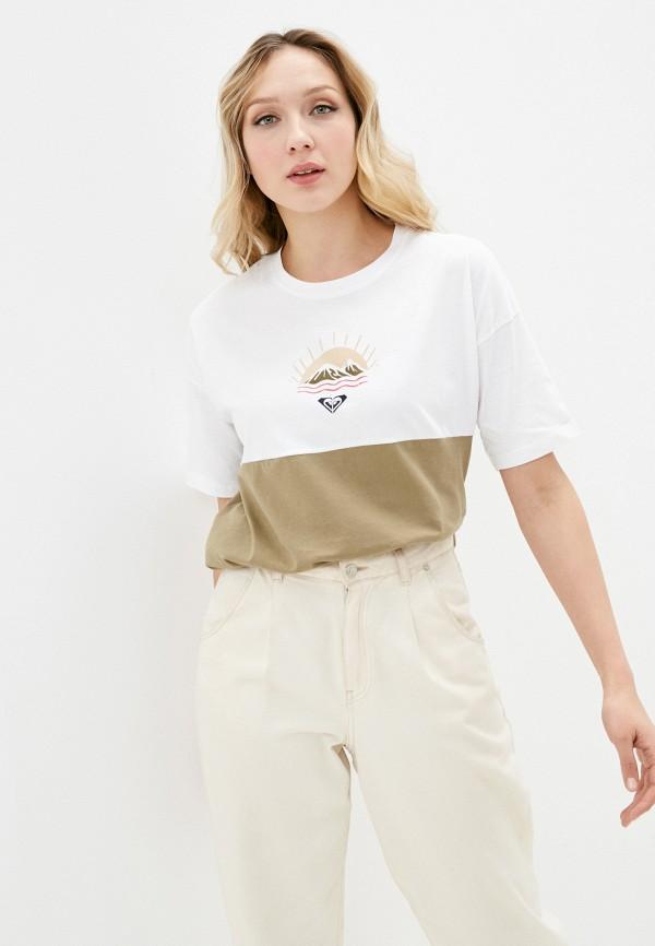 женская спортивные футболка roxy, хаки