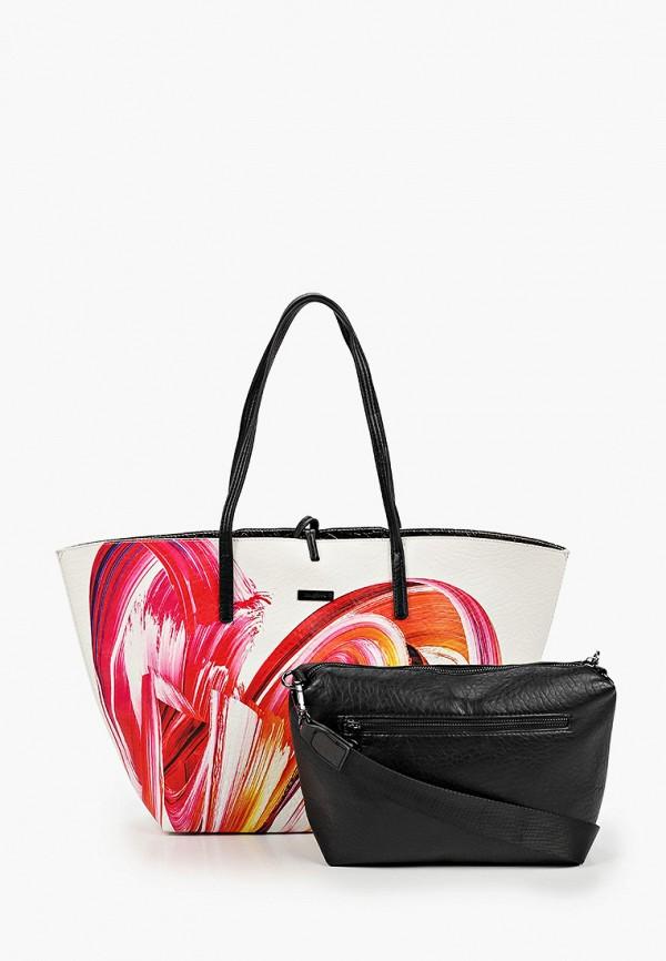 женская сумка-шоперы desigual, разноцветная