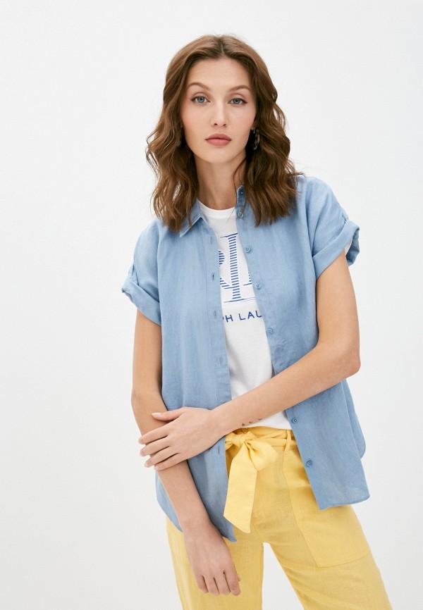 женская рубашка lauren ralph lauren, голубая