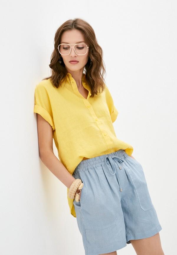 женская рубашка с коротким рукавом lauren ralph lauren, желтая