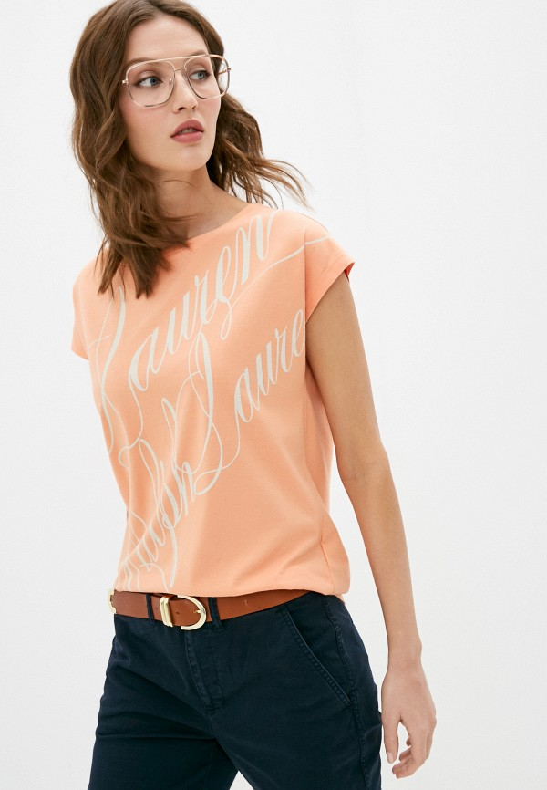 женская футболка lauren ralph lauren, оранжевая